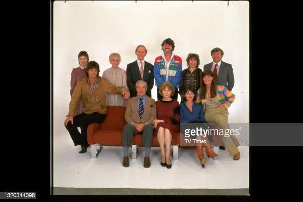 The cast of period drama Upstairs, Downstairs, including Jacqueline Tong, Simon Williams, Patsy Smart, Gordon Jackson, David Langton, Rachel Gurney,...
