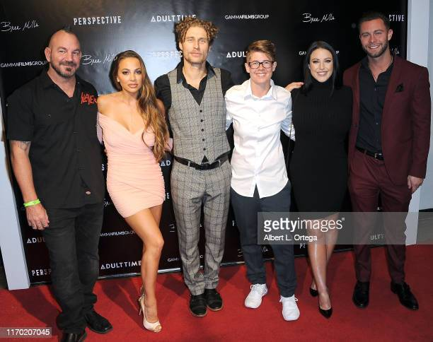 The cast of 'Perspective' Craven Moorehead Abigail Mac Michael Vegas Bree Mills Angela White and Seth Gamble pose at the Premiere Of Perspective held...