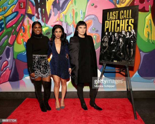 The cast of Pitch Perfect 3 Ester Dean Chrissie Fit and Hana Mae Lee attend the GrammyU screening and QA moderated by Angie Martinez on December 4...