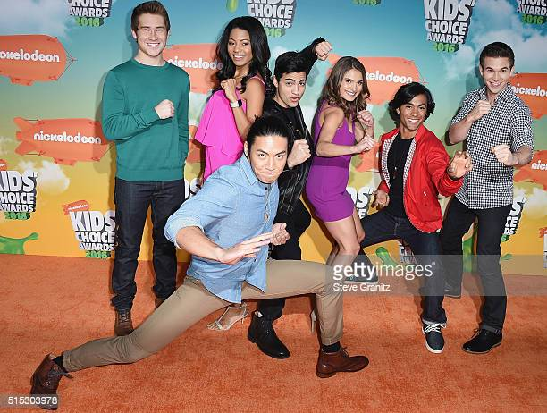 The cast of Power Rangers Dino Charge attend Nickelodeon's 2016 Kids' Choice Awards at The Forum on March 12 2016 in Inglewood California