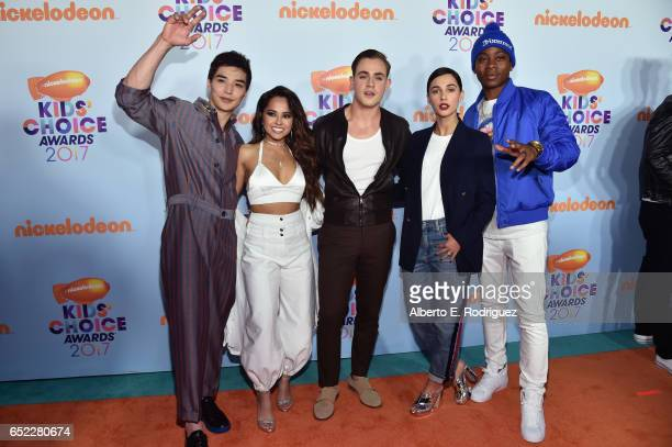 The cast of Power Rangers Ludi Lin Becky G Dacre Montgomery Naomi Scott and RJ Cyler at Nickelodeon's 2017 Kids' Choice Awards at USC Galen Center on...