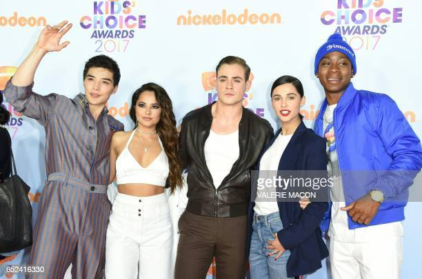 The cast of Power Rangers Ludi Lin Becky G Dacre Montgomery Naomi Scott and RJ Cyler arrive for the 30th Annual Nickelodeon Kids' Choice Awards March...