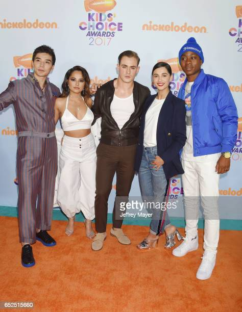 The cast of Power Rangers Ludi Lin Becky G Dacre Montgomery Naomi Scott and RJ Cyler arrive at the Nickelodeon's 2017 Kids' Choice Awards at USC...