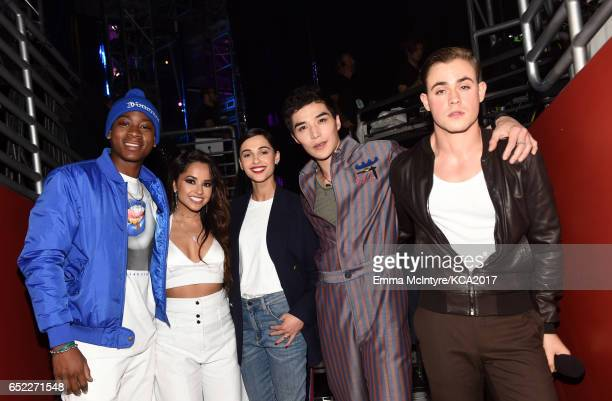 The cast of Power Rangers pose backstage at Nickelodeon's 2017 Kids' Choice Awards at USC Galen Center on March 11 2017 in Los Angeles California