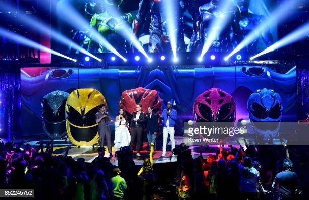 The cast of Power Rangers speak onstage at Nickelodeon's 2017 Kids' Choice Awards at USC Galen Center on March 11 2017 in Los Angeles California