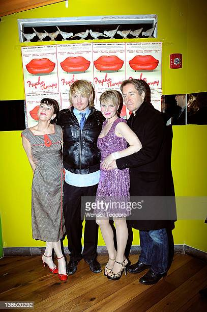 The cast of Psycho Therapy Jan Leslie Harding Jeffrey Carlson Angelica Page and Laurence Lau attends the 'Psycho Therapy' opening night at the Cherry...