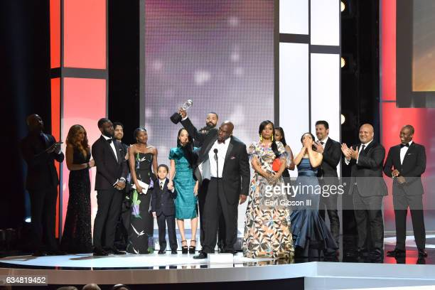 The cast of Queen Sugar winner of the Outstanding Drama Series Award pose on stage at the 48th NAACP Image Awards at Pasadena Civic Auditorium on...