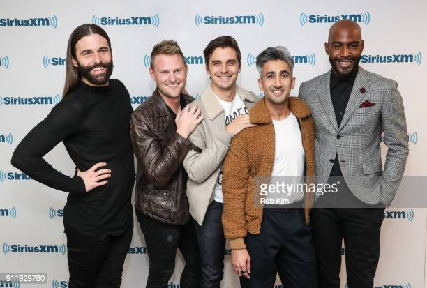 The cast of Queer Eye for the Straight Guy Jonathan Van Ness Bobby Berk Anthoni Porowski Tan France and Karamo Brown visit SiriusXM Studios on...