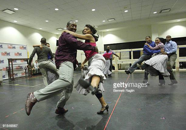 The cast of Ragtime perform during rehearsals for the Broadway revival of Ragtime at the Hilton Theatre Rehearsal Hall on October 7 2009 in New York...