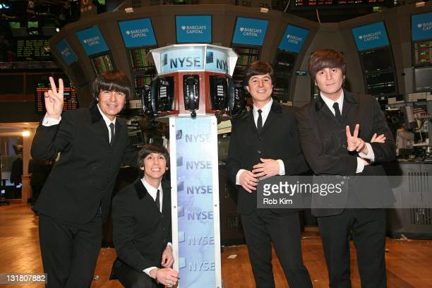 A Tribute to the Beatles on Broadway Joe Bithorn Ralph Castelli Joey Curatolo and Steve Landes visit the New York Stock Exchange on March 8 2011 in...