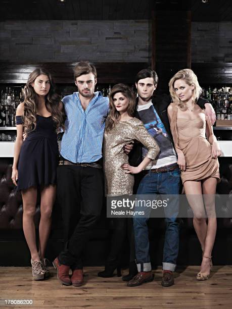 The cast of reality tv show Made in Chelsea from left to right Alexia LimpertPeersHugo EmpsonGemma Gregoryunidentified and Kimberley Garner are...