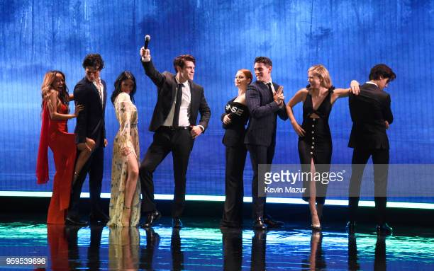 The cast of 'Riverdale' speaks on stage during The CW Network's 2018 upfront at New York City Center on May 17 2018 in New York City