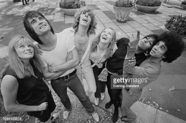The cast of rock musical 'Hair' in London for its West End debut UK 11th September 1968 they are Annabel Leventon Oliver Tobias Andy Forray Lucy...