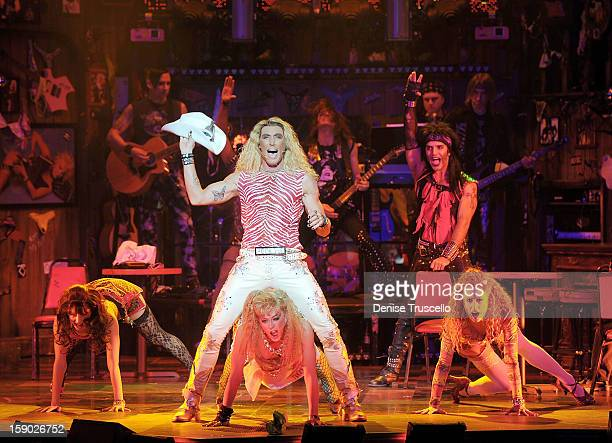 The cast of Rock of Ages during the show's opening at The Venetian on January 5 2013 in Las Vegas Nevada