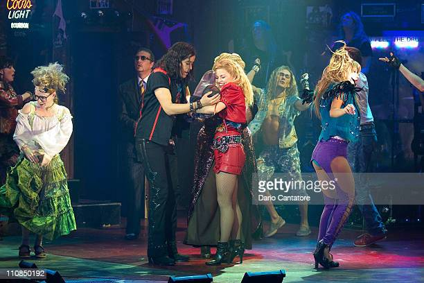 The cast of rock of ages including Rebecca Faulkenberry Dan Domenech MiG Ayesa Cody Scott Lancaster Josephine and Rose Roberts attend the Broadway...