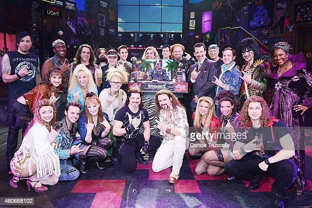 The cast of Rock of Ages Las Vegas celebrates second anniversary at The Venetian on December 18 2014 in Las Vegas Nevada