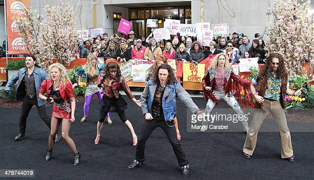 The Cast of Rock Of Ages performs Live on NBC's 'Today' at Rockefeller Plaza on March 20 2014 in New York City