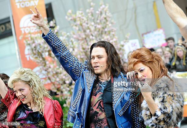 The cast of 'Rock of Ages' performs On NBC's 'Today' at Rockefeller Plaza on March 20 2014 in New York City