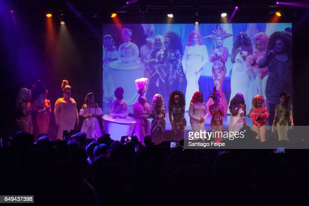 The Cast of Rupauls Dragrace Season 9 onstage durng RuPaul's Drag Race Season 9 Premiere Party Meet The Queens Event at PlayStation Theater on March...