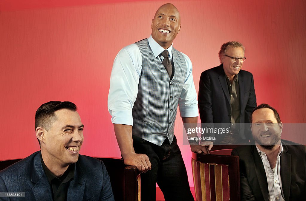 The cast of 'San Andreas' Dwayne 'The Rock' Johnson, Carlton Cuse, Brad Peyton, and Beau Flynn are photographed for Los Angeles Times on May 16, 2015 in Los Angeles, California. PUBLISHED IMAGE.