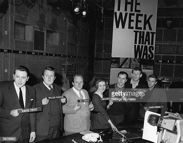 The cast of satirical British television programme 'That Was The Week That Was' at the BBC television studios in Shepherd's Bush London From left to...