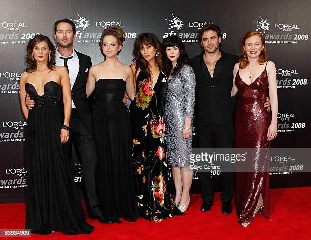 The cast of Satisfaction actors Dianna Glen Justin Sullivan Bojana Novakovic Peta Sergeant Kestie Morrassi Dustin Clare and Alison Whyte arrive at...