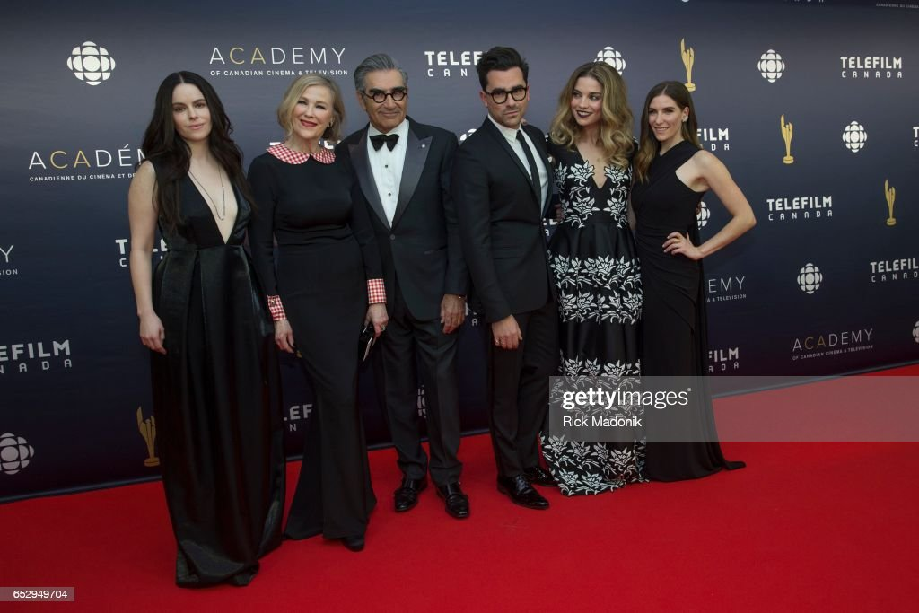 The cast of Schitt's Creek. From left: Annie Murphy, Catherine O'Hara, Eugene Levy, Daniel Levy, Sarah Levy and Emily Hampshire. Canadian Screen Awards red carpet at Sony Centre for the Performing Arts ahead of the show.