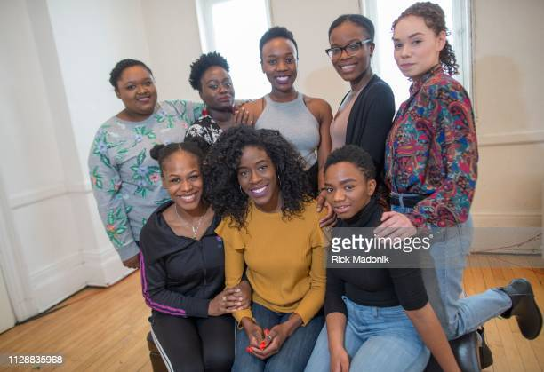 The cast of School Girls or The African Mean Girls Play at the Factory Theatre Seated from left Melissa Eve Langdon Bria McLaughlin and Rachel...