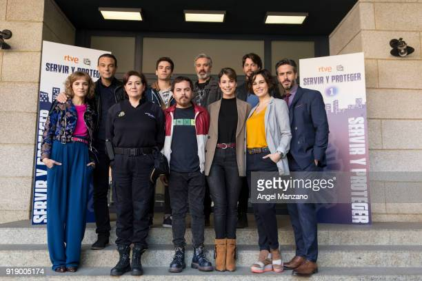 The cast of 'Servir Y Proteger' attend the New Characters Presentation on February 16 2018 in Madrid Spain