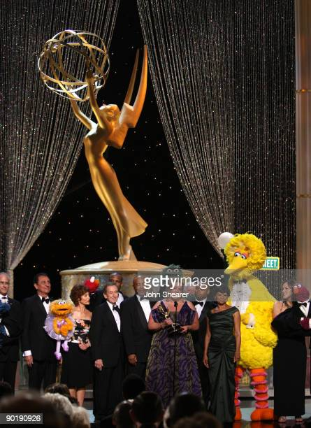 The cast of 'Sesame Street' perform onstage before accepting the Emmy Lifetime Achievement Award during the 36th Annual Daytime Emmy Awards at The...