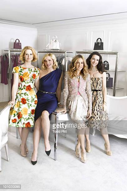 The cast of Sex and the City Cynthia Nixon Kim Cattrall Sarah Jessica Parker and Kristin Davis pose for a portrait session for the USA Today in New...
