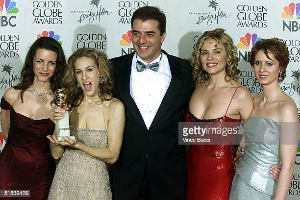 The cast of 'Sex and the City' Kristin Davies Sarah Jessica Parker Chris Noth Kim Catrall and Cynthia Nixon celebrate their win for Best Television...