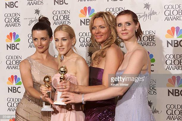 The cast of Sex and the City winners of Best Television Series Musical or Comedy at the 58th Annual Golden Globe Awards at the Beverly Hilton in Los...