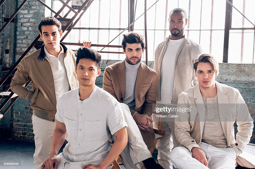 The cast of 'Shadow Hunters' Isaiah Mustafa, Harry Shum Jr., Dominic Sherwood, Alberto Rosende, and Matthew Daddario are photographed for Bello on January 11, 2016 in Los Angeles, California.
