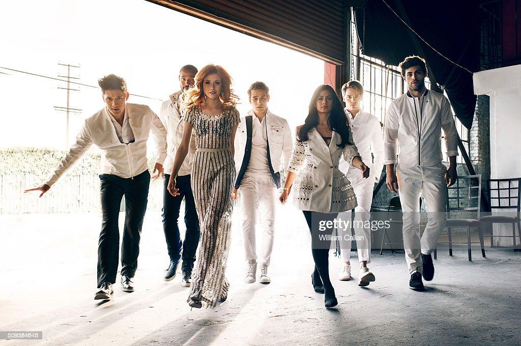 The cast of 'Shadow Hunters' Isaiah Mustafa, Harry Shum Jr., Katherine McNamara, Dominic Sherwood, Alberto Rosende, Matthew Daddario, and Emeraude Toubia are photographed for Bello on January 11, 2016 in Los Angeles, California.