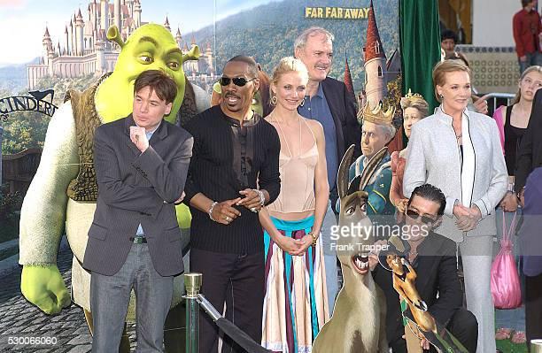 The cast of Shrek 2 actors Mike Myers Eddie Murphy Cameron Diaz John Cleese Antonio Banderas and Julie Andrews arrives at the premiere of the...