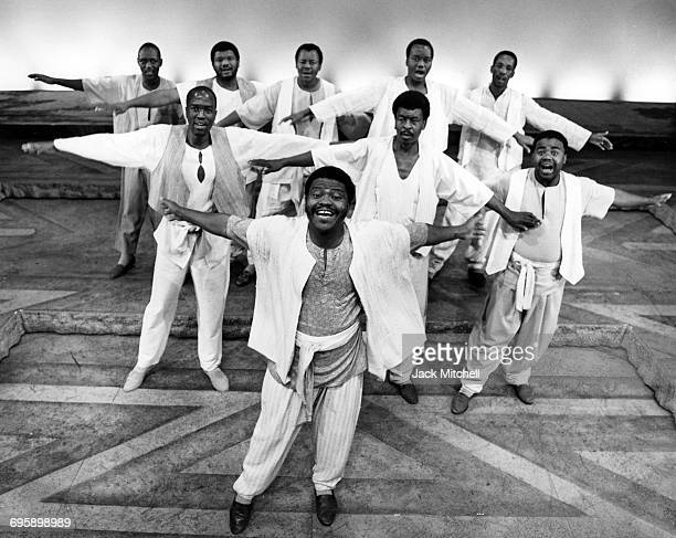 The cast of 'Song of Jacob Zulu' featuring Ladysmith Black Mambazo photographed at the Steppenwolf Theatre in Chicago February 1993