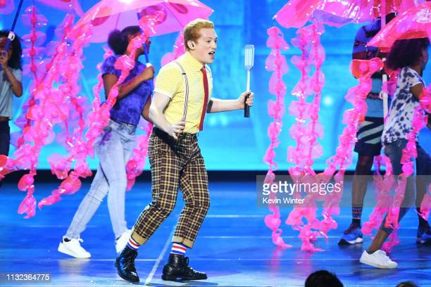 The cast of SpongeBob SquarePants the musical performs onstage at Nickelodeon's 2019 Kids' Choice Awards at Galen Center on March 23 2019 in Los...