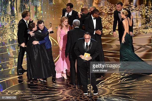 The cast of 'Spotlight' accept the Best Motion Picture of the Year award onstage during the 88th Annual Academy Awards at the Dolby Theatre on...