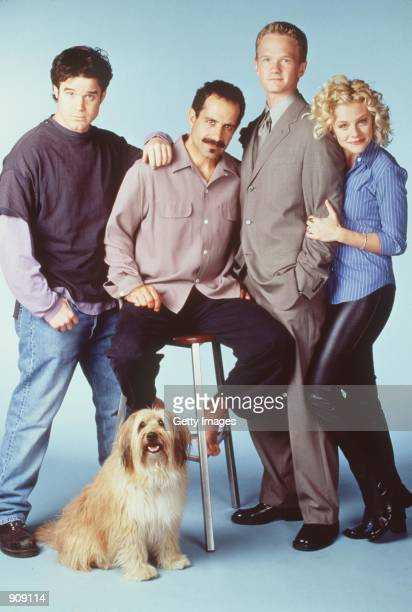 The cast of Stark Raving Mad From lr Eddie McClintock Tony Shalhoub Neil Patrick Harris and Jessica Cauffiel Photo credit Chris Haston NBC Inc All...