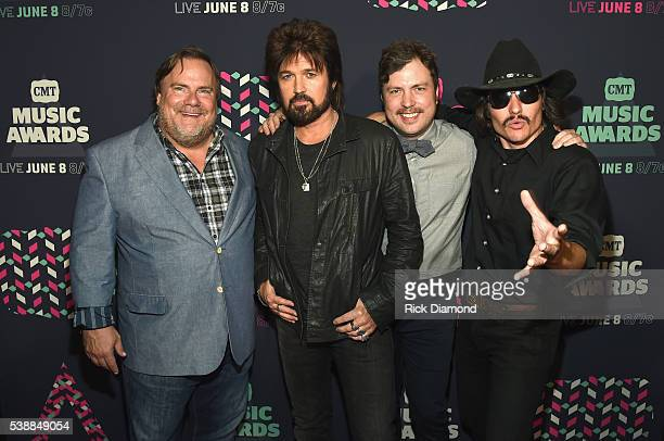 The cast of 'Still the King' Kevin P Farley Billy Ray Cyrus Travis Nicholson and Jon Sewell attend the 2016 CMT Music awards at the Bridgestone Arena...