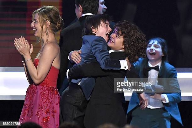 The cast of Stranger Things accepts the award for Best Ensemble in a Drama Series onstage during the 23rd Annual Screen Actors Guild Awards at The...