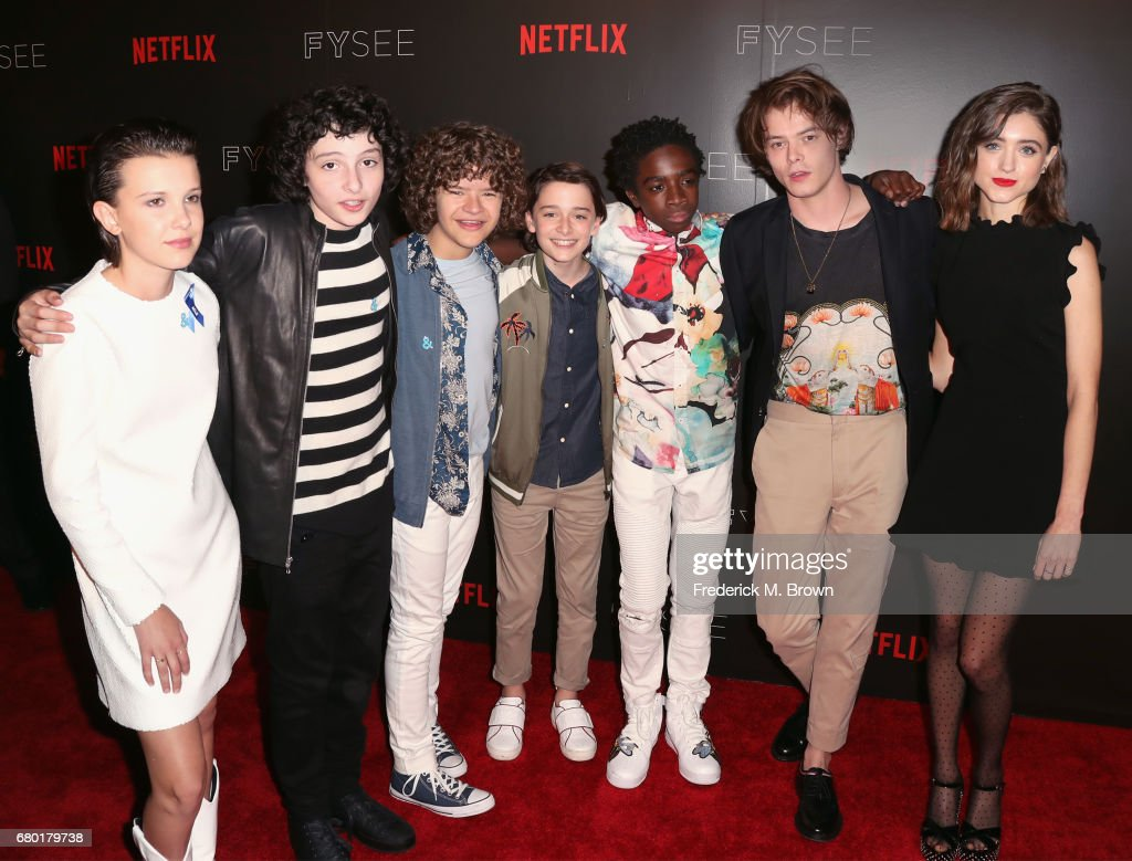 The cast of Stranger Things, actors (L-R) Millie Bobby Brown, Finn Wolfhard, Gaten Matarazzo, Noah Schnapp, Caleb McLaughlin, Charlie Heaton and Natalia Dyer arrive at the Netflix FYSee Kick Off Event at Netflix FYSee Space on May 7, 2017 in Beverly Hills, California.