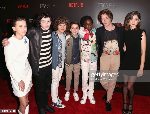 The cast of Stranger Things actors Millie Bobby Brown Finn Wolfhard Gaten Matarazzo Noah Schnapp Caleb McLaughlin Charlie Heaton and Natalia Dyer...