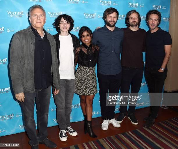 The cast of 'Stranger Things Inside the Upside Down' Paul Reiser Finn Wolfhard Linnea Berthelsen Ross Duffer Matt Duffer and Shawn Levy attend the...