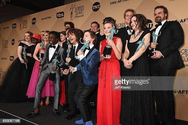 The cast of 'Stranger Things' poses in the press room during the 23rd Annual Screen Actors Guild Awards at The Shrine Expo Hall on January 29 2017 in...