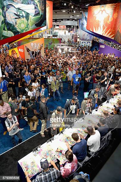 The cast of Suicide Squad film participates in an autograph session for fans in DC's 2016 ComicCon booth at San Diego Convention Center on July 23...