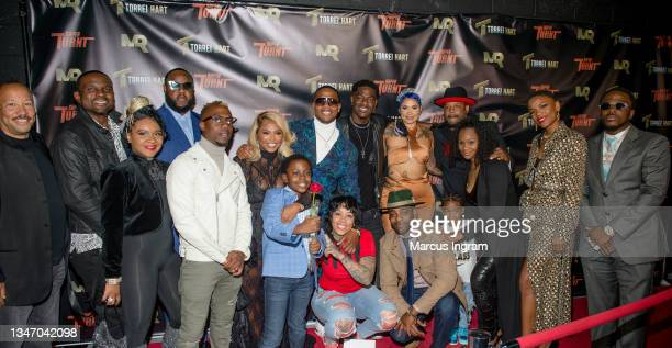 """The cast of Super Turnt attends """"Super Turnt"""" movie premiere at Mann Robinson Studios on October 16, 2021 in Atlanta, Georgia."""