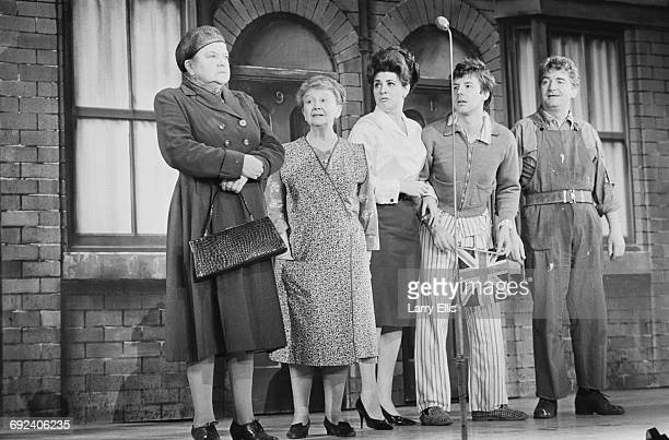 The cast of television soap opera 'Coronation Street' perform at the Royal Gala Show in London 29th November 1966 From left to right Violet Carson...