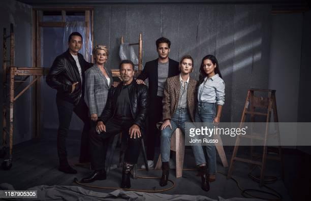 The cast of Terminator Dark Fate Gabriel Luna Linda Hamilton Arnold Schwarzenegger Diego Boneta Mackenzie Davis and Natalia Reyes are photographed...